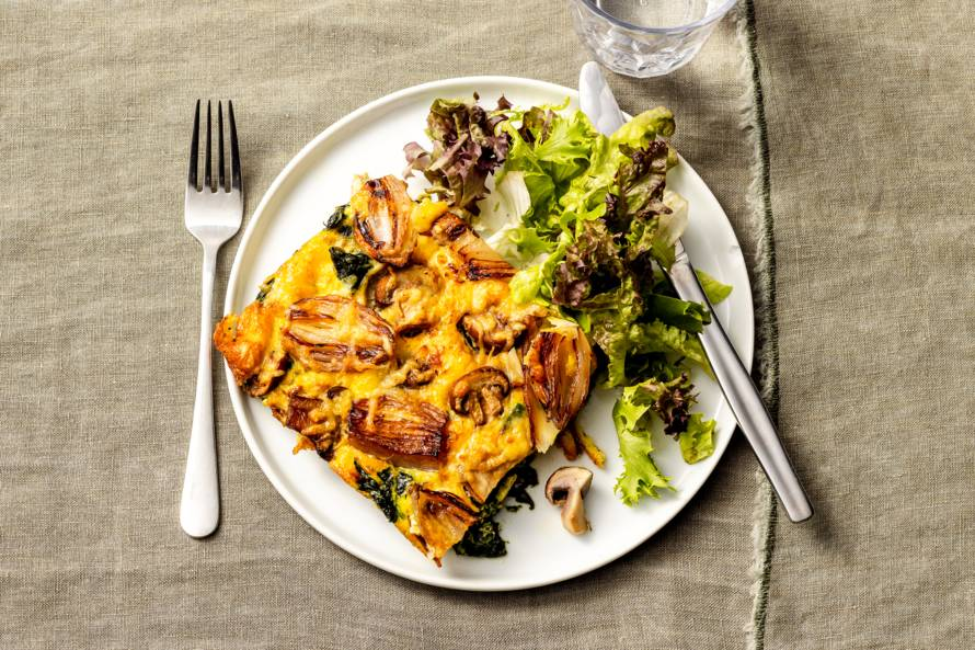 Frittata met spinazie en kastanjechampignons