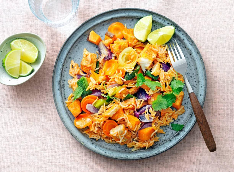 Ovencurry met kabeljauw en rijst