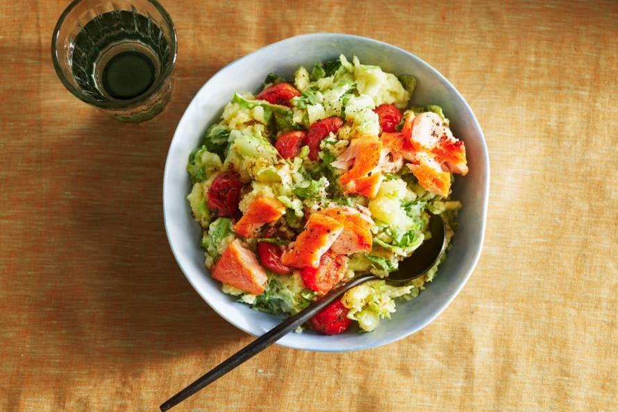 Andijviestamppot met tomaatjes en zalm