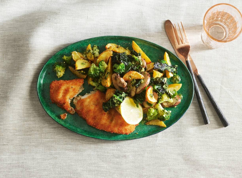 Lekkerbekje met aardappel en groente uit de oven
